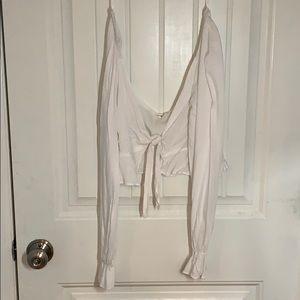Cotton Candy LA • White Tie Long Sleeve CropTop